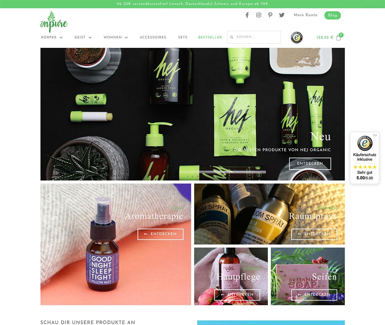 onpure screenshot website